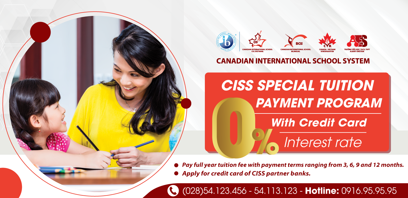 CISS Special Tuition Payment Program with 0% interest rate with a credit card for our current parents